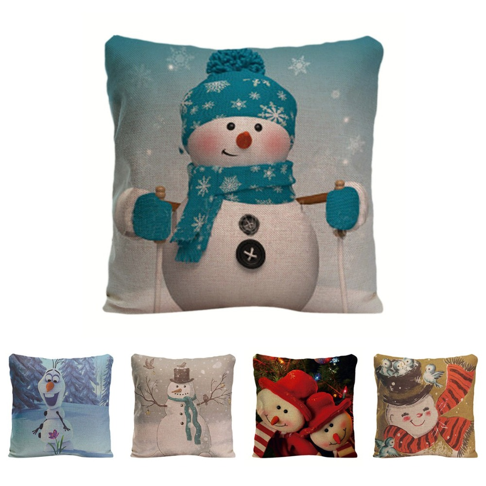 Christmas Xmas Linen Cushion Cover Throw Pillow Case Home: Cute Snowman Cushion Cover Decorative Pillow For Sofa Car