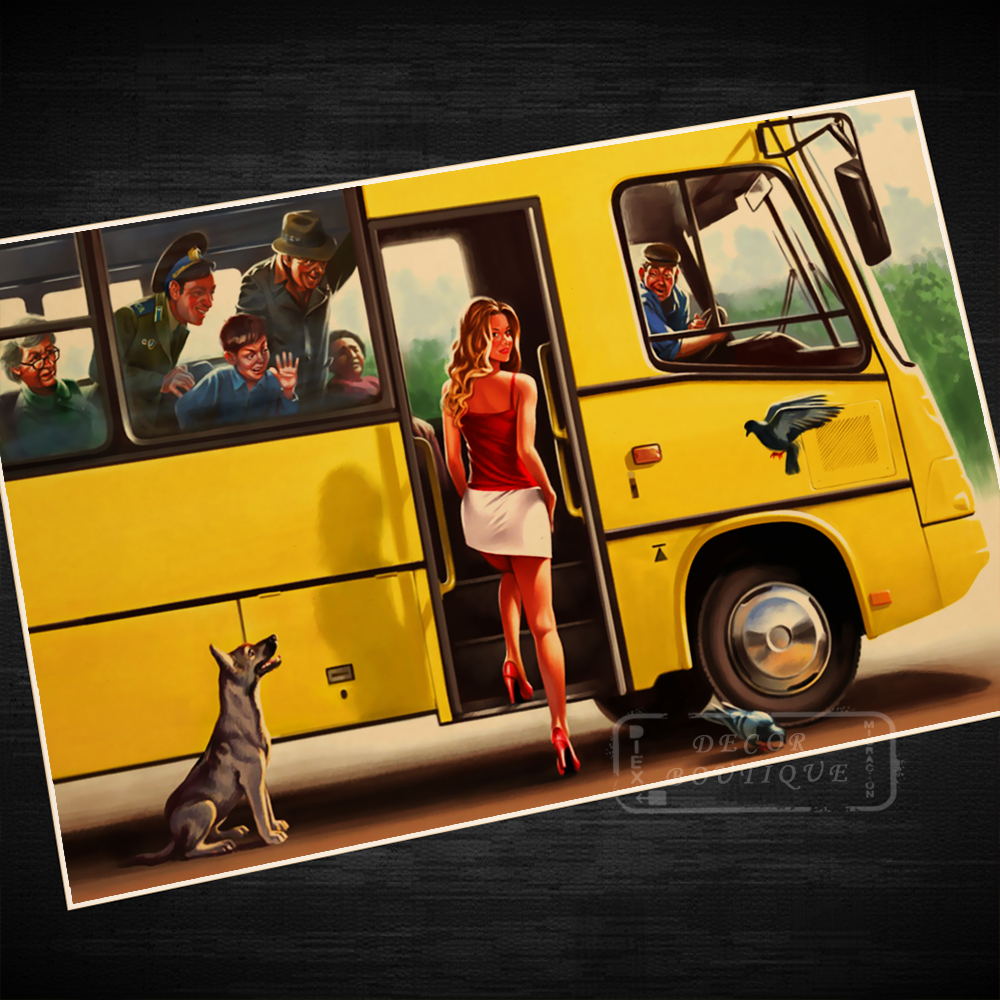 Cool Bus: Sexy Yellow Bus Cool Dog Beauty Pin Up USSR Soviet Vintage