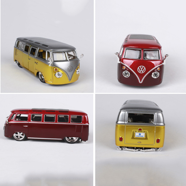 Couleurs rouge et jaune 1/32 échelle Volkswagen VW Van Samba Bus modèles Collections cadeaux affiche