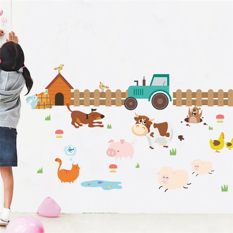 Kids Room Wall Decals Farm Wall Decals Farm Animal Decals: Farm Animals Fence Cattle Dog Wall Stickers For Kids Rooms
