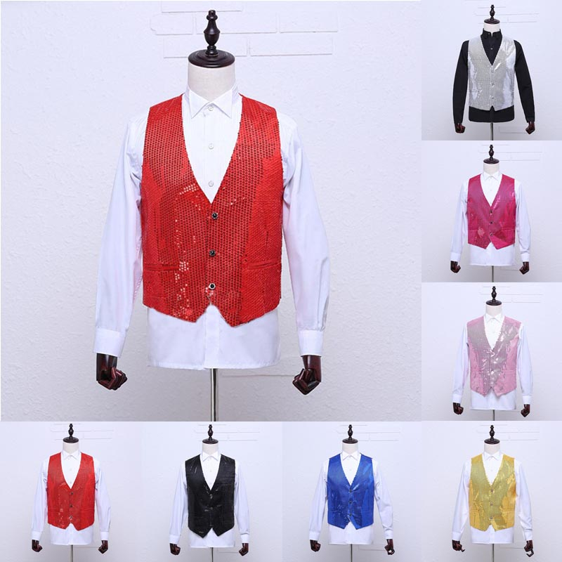 Fashion Men Women Wedding Stage Show Shiny Sequin Waistcoat Suit Vest Classic Vests -MX8