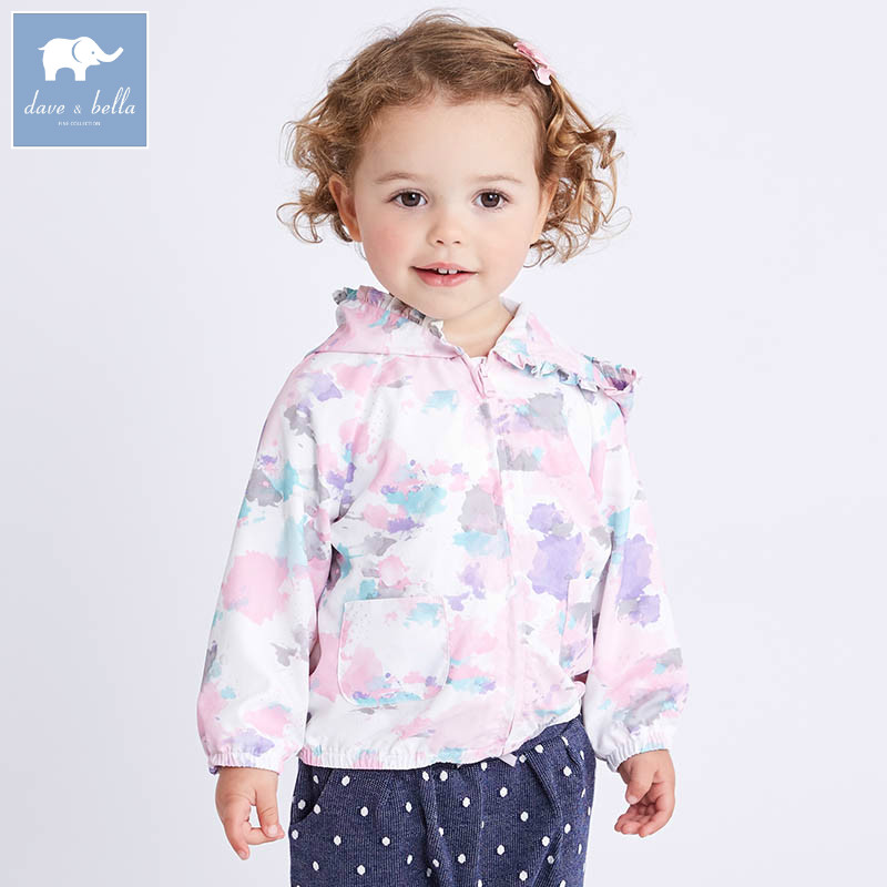 DB6950 dave bella spring infant baby girls hooded coate kids print outerwear toddler children high quality lovely clothes