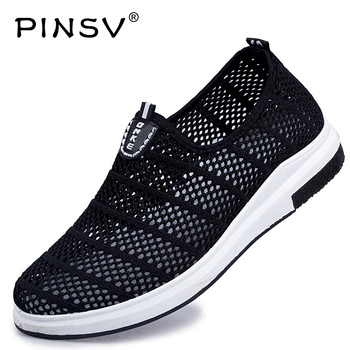 PINSV Men Shoes Sports Shoes For Male Running Shoes For Male Krasovki Men Sport Men Slip On Sneakers Light Youth Footwear Mesh slip-on shoe