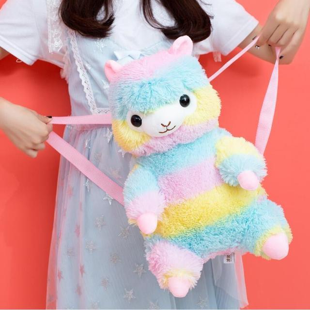 Rainbow Alpaca Plush Backpack