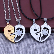 Fashion New Couple Necklaces Clover Lock Key Heart Faux Leather Rope Chain Men Women Crystal Pendant Necklace Choker Party Gift faux leather lock pendant choker necklace