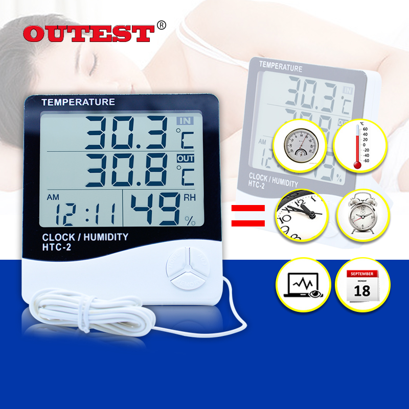 HTC-2 Digital LCD Thermometer Hygrometer Electronic Temperature Humidity Meter Weather Station Indoor Outdoor Tester Alarm Clock