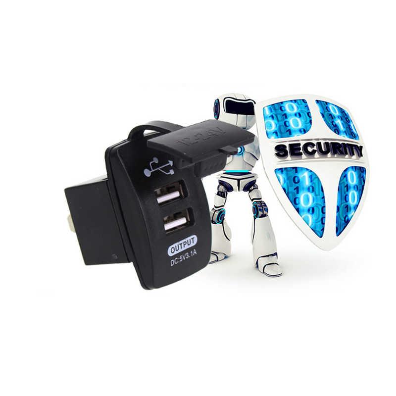 Waterproof 12V 24V Mini Micro Dual USB Plug Car Motorcycle Cigarette Lighter Socket Car Charger 3.1A USB Charger DIY Charge