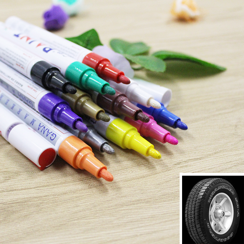 colorful Waterproof pen Car Tyre Tire Tread CD Metal Permanent Paint markers Graffiti Oily Marker Pen marcador Caneta stationery diy tire marker paint pen for auto car motorcycle white green