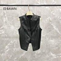 2019 Autumn Models Were ThinLeather Vest Female Leather Short Vest Shoulder Sheep Leather Vest Korean Version Jacket Women