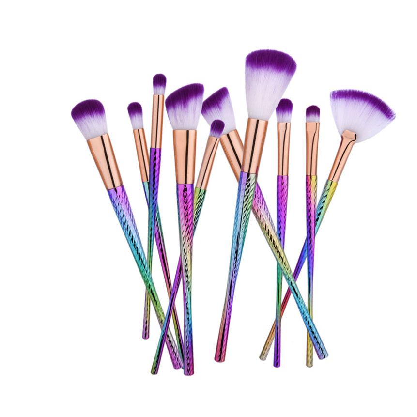 ColorWomen SimpleFly Shop Co.,LTD GUJHUIT New Fashion 10Pcs Colorful Foundation Eye shadow Makeup Brushes Plastic Handle Powder Brush Sets Drop Shipping 70824