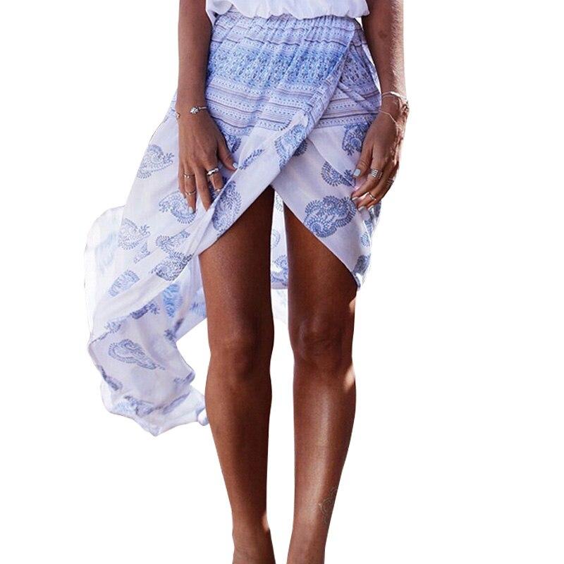 2016 European Boho Style Summer Skirts Womens Floral White Printed Long Skirt Seaside Beach Skirts New Split Skirts Jupe Longue