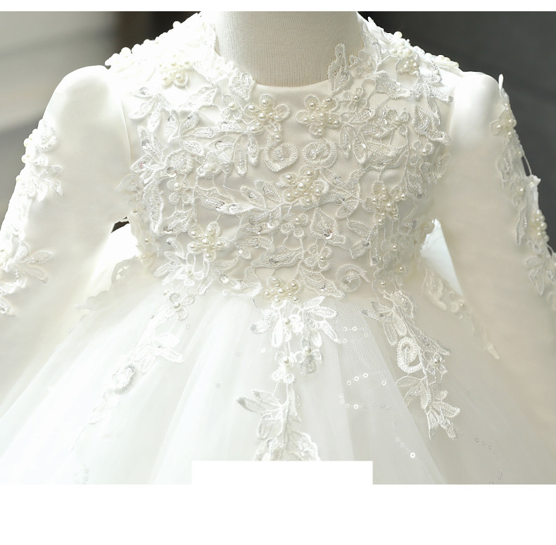 Baby Girl Wedding Dress Long Sleeve Newborn Girls Christmas Princess Gowns Beads Lace Infant Kids 1 Year Birthday Baptism Dress
