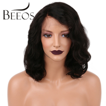 BEEOS Pre Plucked Full Lace Human Hair Wigs For Black Women 12-16 Inches Remy Hair Brazilian Lace Wigs Short Wavy Lace Wigs