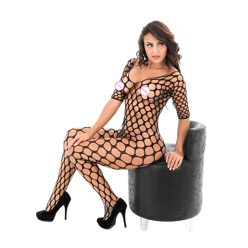 Women's Hollow Out Sexy Underwear Big Fish Mesh Lingerie Open Crotch Sexy Costumes Erotic Dress Bodystocking W8948