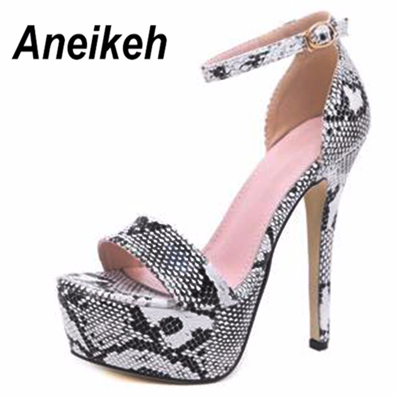 b47c0af90b7b Aneikeh 2019 Serpentine Platform High Heels Sandals Summer Sexy Ankle Strap Open  Toe Gladiator Party Dress