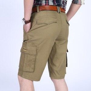 Icpans shorts casuais dos homens na altura do joelho algodão carga calças curtas bermuda masculina calções de verão streetwear tamanho grande 40 42 44