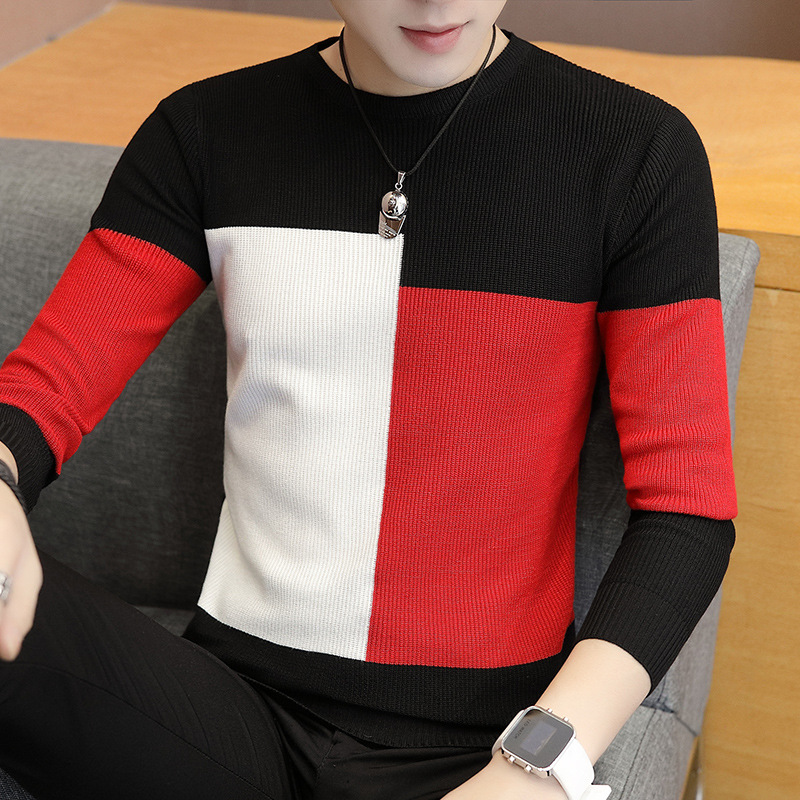 LEFT ROM 2019 Autumn Casual Men's Sweater O-Neck Slim Fit Knittwear Mens Color Matching Sweaters Pullovers Pullover Knit Shirts