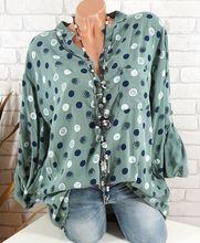 المرأة عارضة القمصان رفض طوق طويلة الأكمام الربيع الصيف فضفاضة قمم البولكا نقطة طباعة البلوزات جيوب الملابس زائد الحجم 5xl