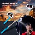 Mini monopod para iphone 6 selfie stick 3 luz de flash led 6 s más palo selfie para samsung cámara selfie stick con la luz