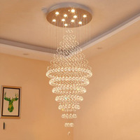 Duplex Stairs Chandeliers Round Hall Crystal Chandeliers Villa Stairs Lights Long Chandeliers Living Room Large Hanging Lights