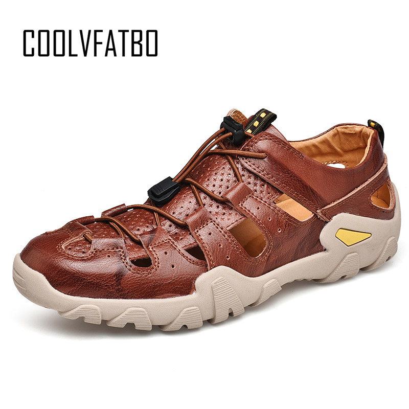 COOLVFATBO 2019 New Summer Men's Shoes Outdoor Casual Beach Shoes Sandals Genuine Leather Non-Slip Sneakers Men Big Size 38-46