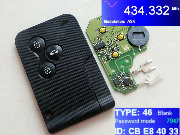 RMLKS 3 Buttons 433MHZ Smart Key Fob Card For Renault Megane PCF7947 Chip Remote Car Key Uncut Blade