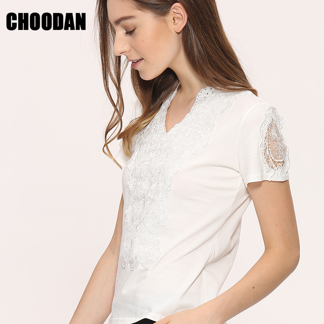 78deebbc2c46cd Blusa koronkowe bluzki koszule damskie topy koszulki 2017 lato styl białe  koronki bluzka bawełniana elegancka S