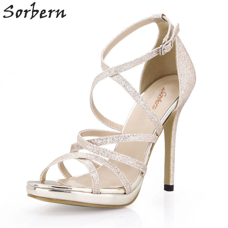 Sorbern Gold Glitter Cross Strap Women Sandals Classical High Heels Night Club Footwear  ...