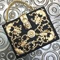 Роскошные высокое качество алмазный резные полые замок ретро дизайн одежды мини щитка женщин сумка сумка сумка коробка мешок