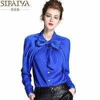 SIPAIYA De Luxe Soie Blouse Femmes Arc Col Soie Blouses Shirt Blusas Femininas Dames de Bureau Élégant vêtements de Travail Blouse