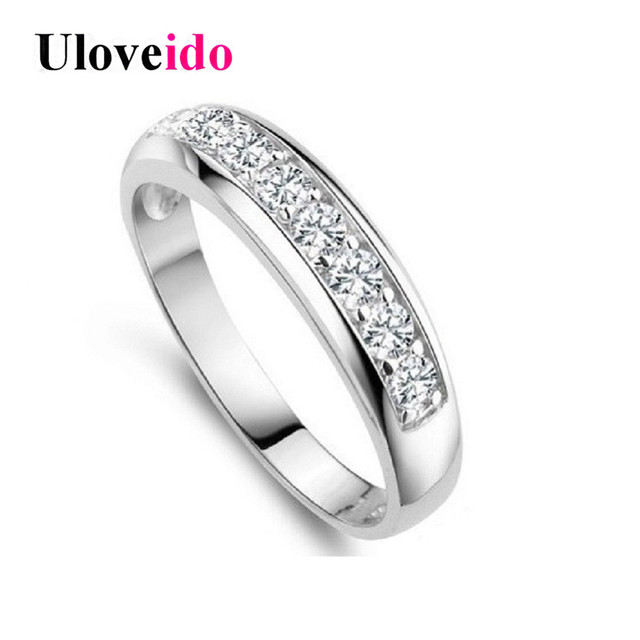 Uloveido Charms Ring for Women Wedding Band Cubic Zirconia Silver color Rings for Women/Men Wholesale New year Gifts J294