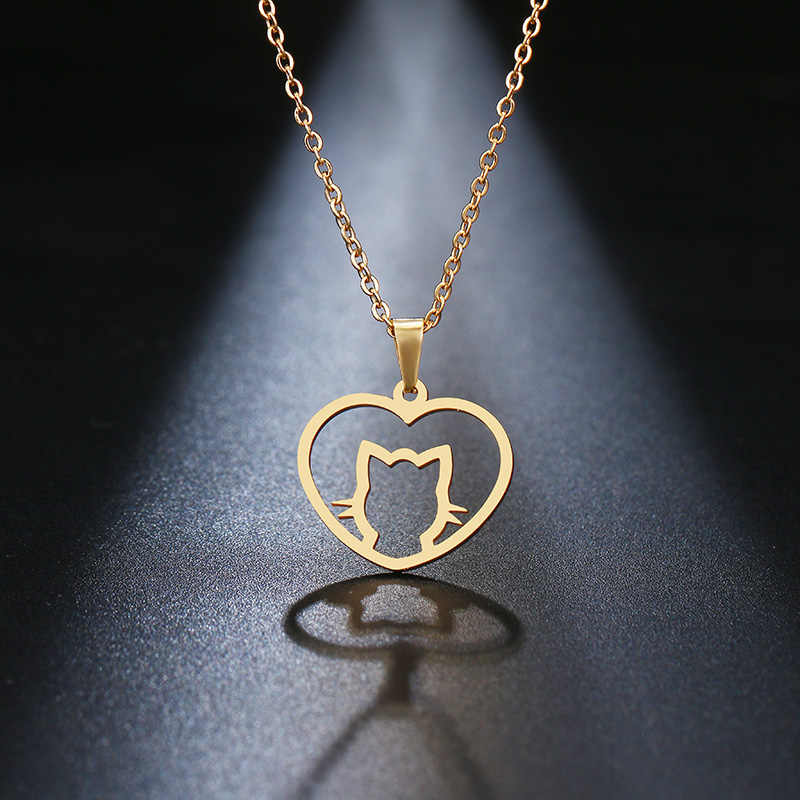 DOTIFI Stainless Steel Necklace For Women Lover's Gold And Silver Cute Personalized Cat Pendant Necklace Engagement Jewelry