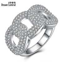 DreamCarnival 1989 Anniversary Linkage Design Paved setting Jewelry Clear White Stones Anel Chunky Big Ring for Women SJ07519