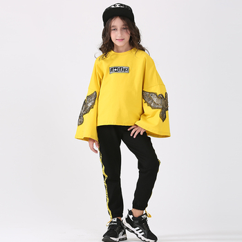 Girl Autumn Suit 2017 Fashion Children's Clothing Set Children's Speaker Sleeves Two-piece Large Girls Sweater Clothing Suit
