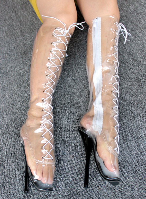 f2e62148e6 Extreme high heel 18cm High Heel CLEAR PVC BALLET Knee Boots fetish high  heel ballet boots sexy queen transparent ballet boots-in Knee-High Boots  from Shoes ...