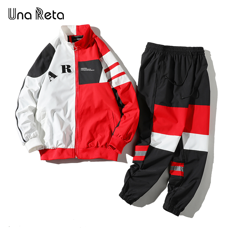Una Reta Couple 2 Piece Tracksuit Men New Spring And Autumn Splicing Streetwear Sports Suit Jacket+Pant Set Hip Hop Tracksuit