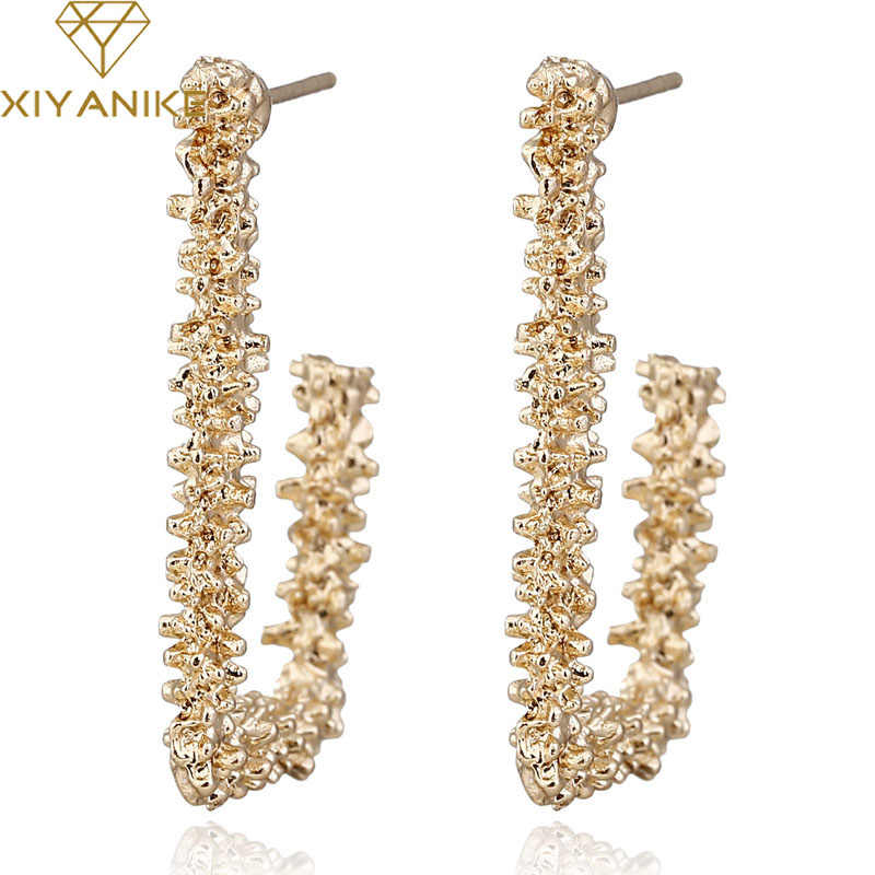 XIYANIKE Big Vintage Earrings for Women Gold Silver C Geometric Statement Earring 2019 Metal Earring Hanging Fashion Jewelry E8