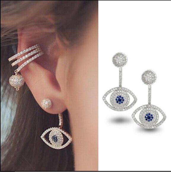 New Micro Pave CZ Crystals Earrings Luxury Rhinestone Blue Zircon eye Earrings MPa for Women the outstanding brand