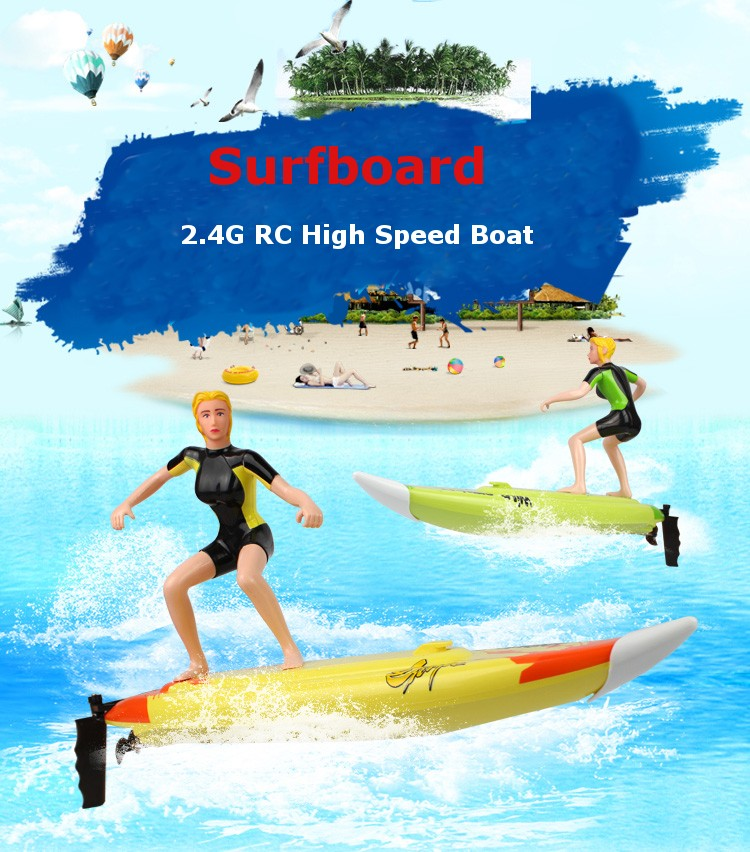 Summer Toys High Speed RC Boat Large RC Surfer Surfboard Electric Radio Control SpeedBoats Ship Model for Kids Pool Water Play free shipping peradix 2pcs high speed rc boat radio control rechargeable rc boat inflatable pool toys