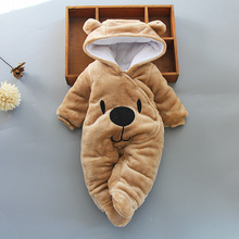 Baby clothing Boy girls Clothes Cotton Newborn toddler rompers cute Infant bear new born winter Hoodie romper   0 18M