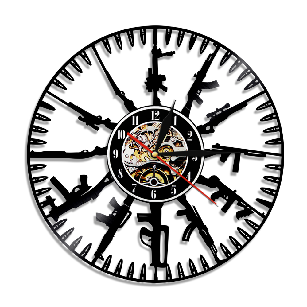 1piece bullet time vinyl record wall clock gun design led light wall 1piece bullet time vinyl record wall clock gun design led light wall art home decorative for soldier and military fans in wall clocks from home garden on aloadofball Images