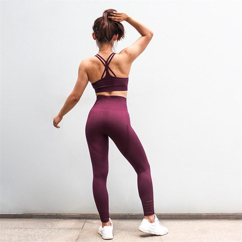 106c571d Chándal de mujer conjunto de Yoga sólido sin costuras correr Fitness  Jogging Yoga sujetador Leggings deportes traje gimnasio ropa deportiva ropa  de ...
