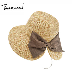 TIMESWOODLady Sun Caps Ribbon Round Top Bowknot Straw Panama Hat Sunscreen Summer Hats For Women Adult Straw Hat Wide Brim