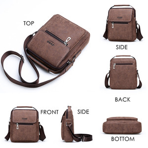 Image 5 - JEEP BULUO Brand Man Handbag Hot Sale Men Messenger Shoulder Bags Frosted Leather Totes Classic Brown Crossbody Bag New Style