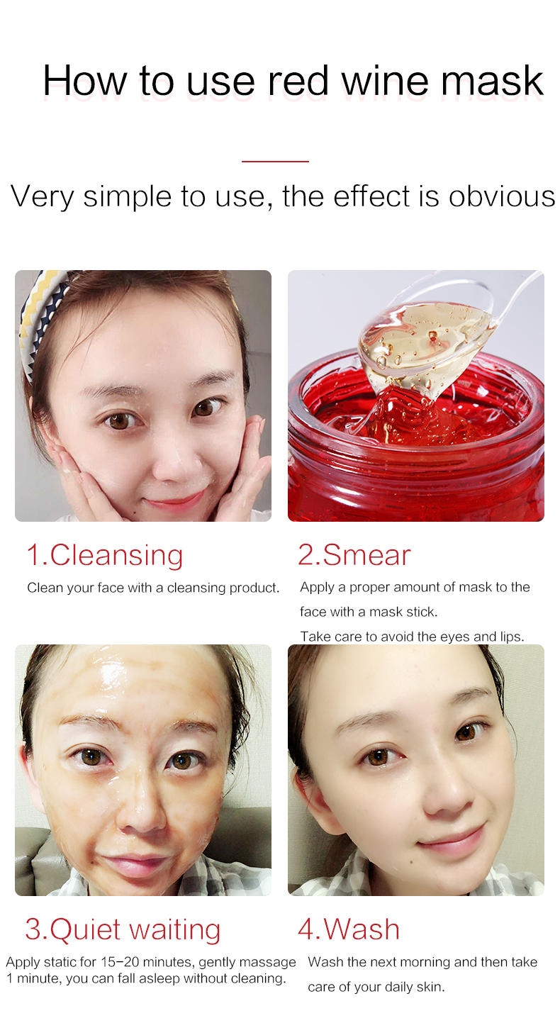 Korean Skin Care Red Wine Sleeping Face Cream Moisturizing Gel Night Mask Anti Wrinkle Aging Nutrition Brighten Skin Care
