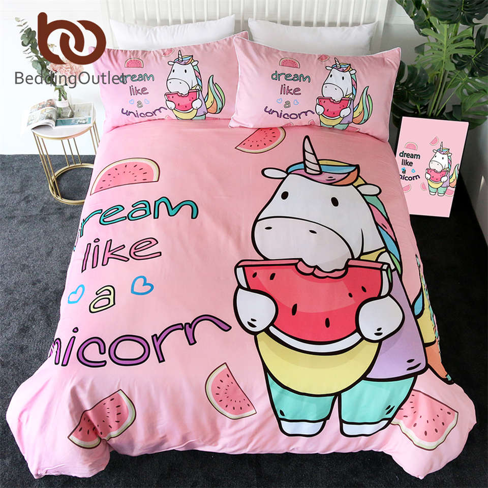 BeddingOutlet Unicorn Bedding Set Cartoon Duvet Cover With  Pillowcases for Kids Watermelon Bed Set Pink Girly Home Textiles  3pcsBedding Sets