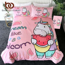 BeddingOutlet Unicorn Bedding Set Cartoon Duvet Cover With Pillowcases for Kids Watermelon Bed Set Pink Girly Home Textiles 3pcs