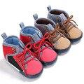 2017 Nova Da Criança Do Bebê Sapatos Menino Patchwork Rendas Até Sapatos de Bebê Para Crianças Suave Sole Primeiro Walkers Prewalker