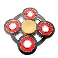 EDC Tri Hand Four Fidget Spinner Stainless Steel Bearing Acrylic Handspinner Finger Gyro Fidget Toys For
