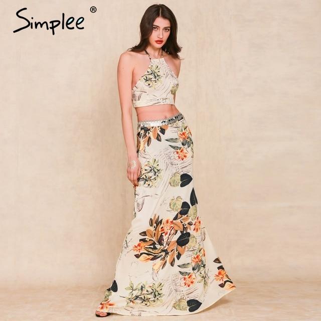 Simplee Apparel 2016 лето boho стиль Цветочный печати длинные dress Две части спинки холтер крест женщины maxi dress vestidos